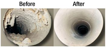 Before & After a Dryer Vent Cleaning.